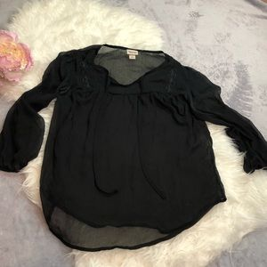 Black Sheer Cover Up Blouse